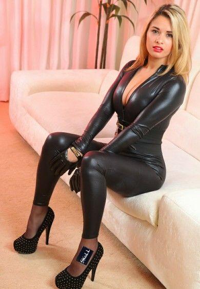 Sexy latex girl high heels