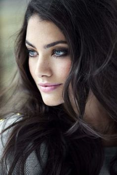 Black hair blue eyes girl