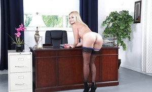 Young blond babe fucks huge dick
