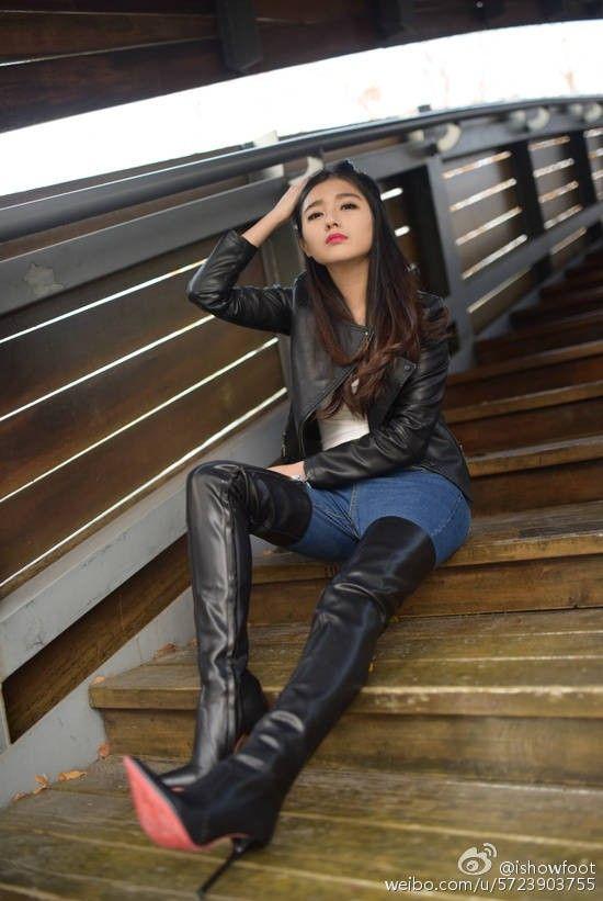 Asian boot girl in