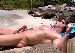 Solo naked big cock hardon beach