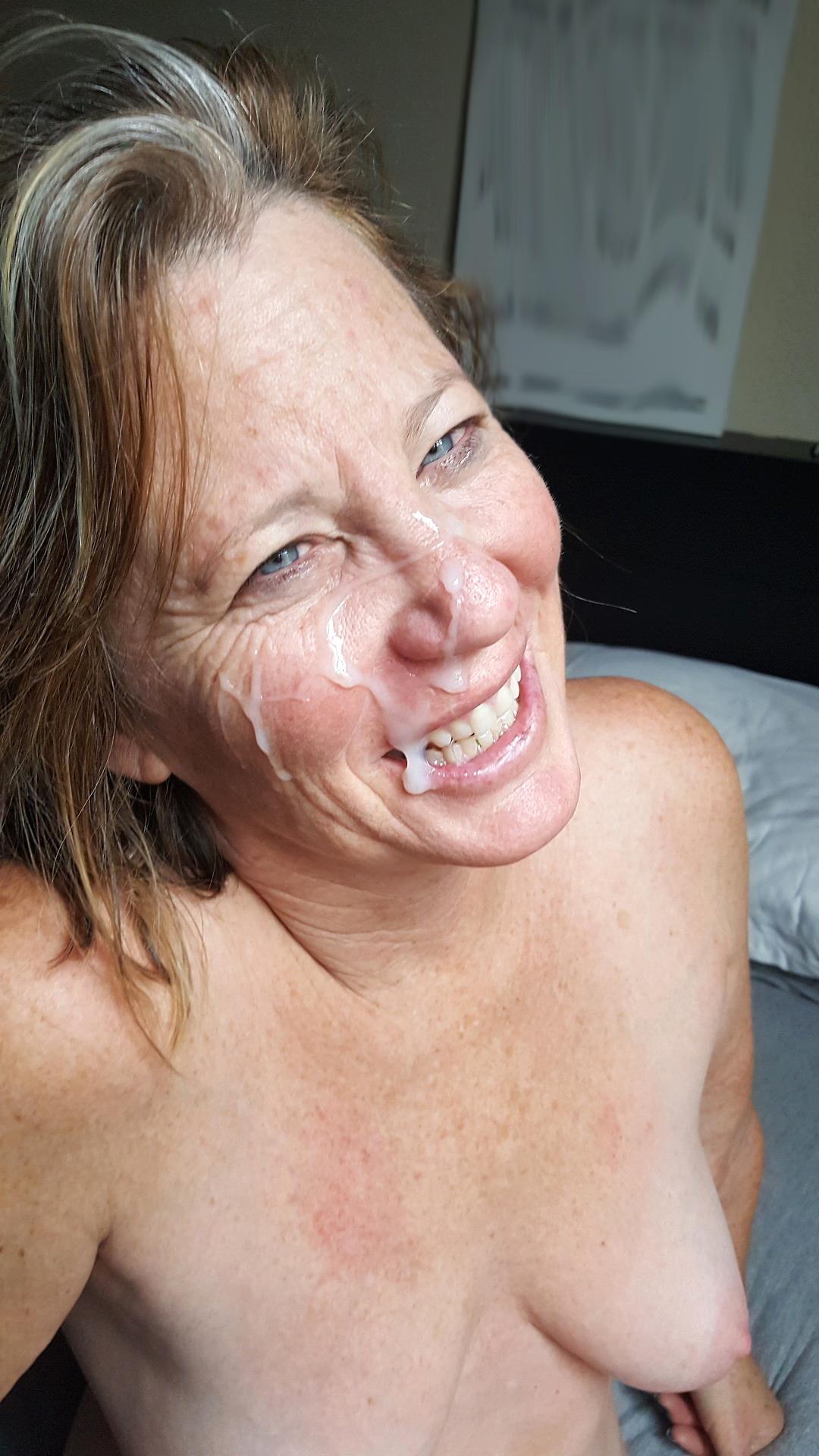 Cum facial mature Old Women