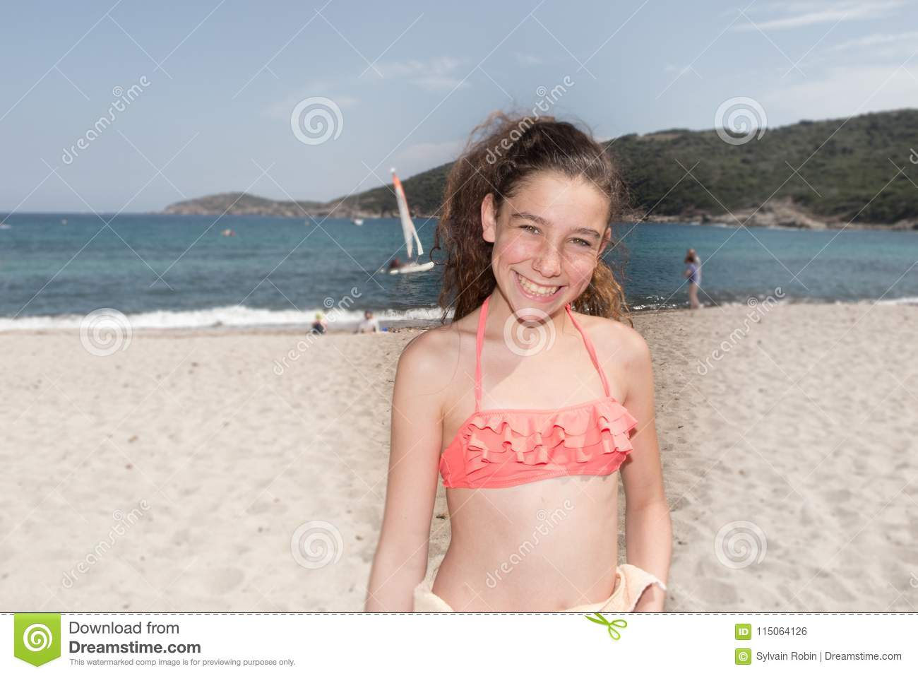 Pretty young girls on the beach