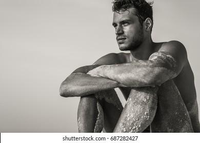 Hot ethnic boys at beach