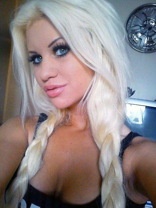 Bleached platinum blonde slut