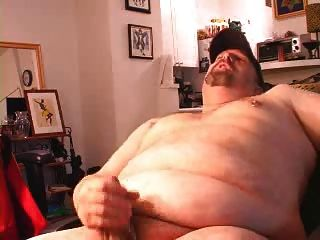 Chubby bear jerking off