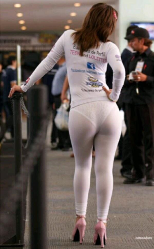See through white panties and leggings
