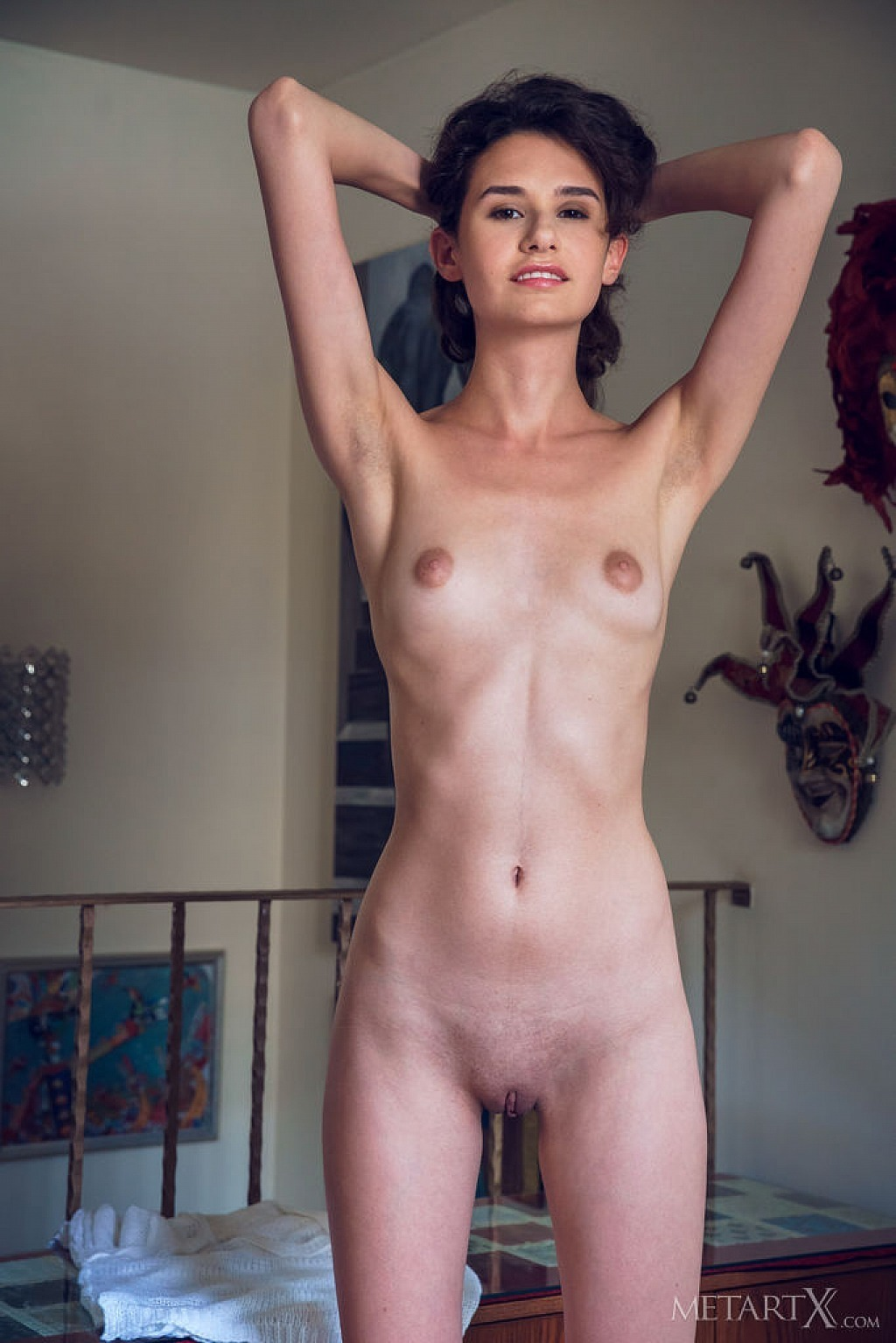 Skinny shaved pussy spread