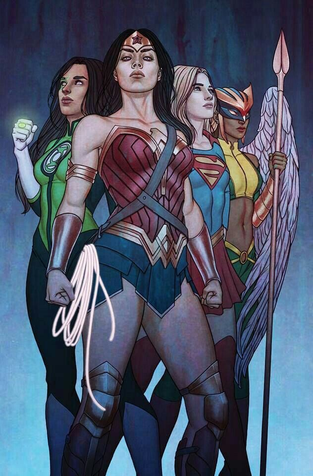 Supergirl and wonder woman hawkgirl