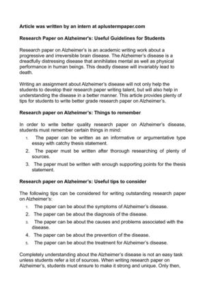 Teen research paper on alzheimer diseas