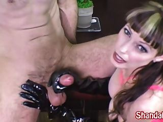 Hard sex with latex gloves