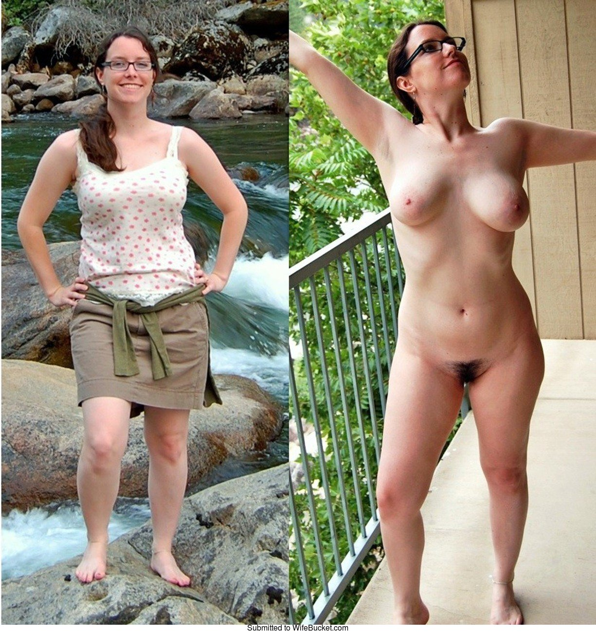 Husband wife dressed and undressed