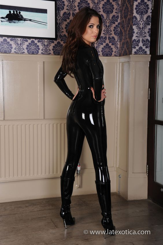 Tight latex and leather lingerie