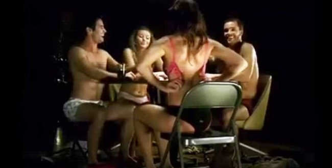 Stripping women strip poker