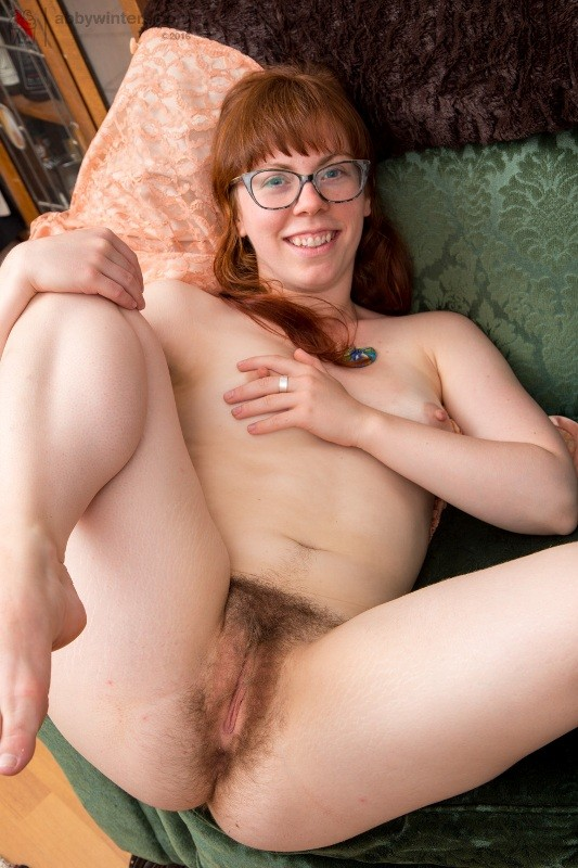 Amateur redhead with glasses hairy pussy