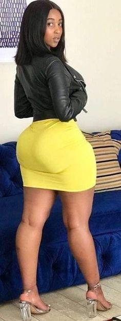 Huge curvy ass in tight mini skirt