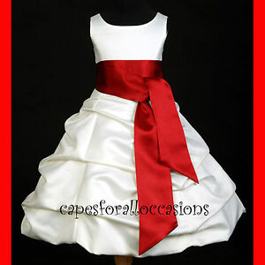 Red and white flower girl dress