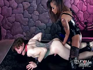 White slave black mistress strapon