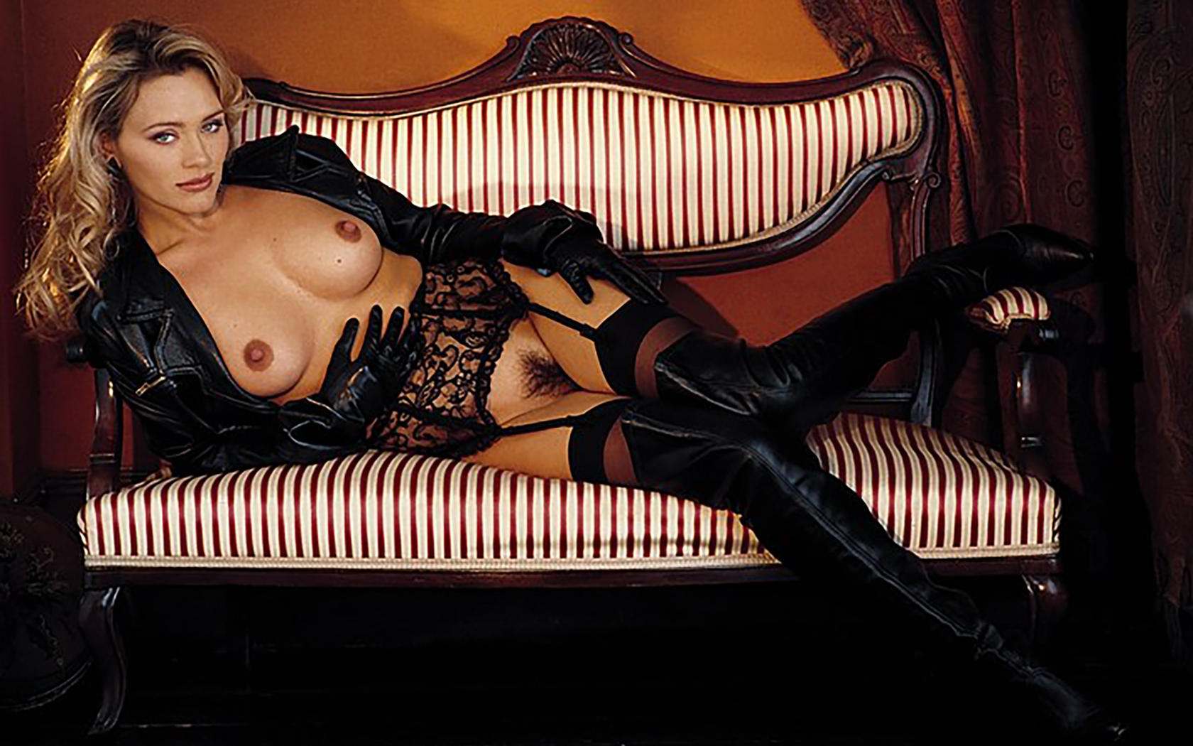 Playmate in leather boots