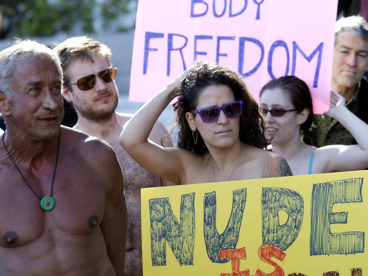 Nudist families in public