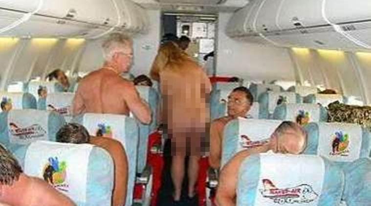Nude flight attendant on plane