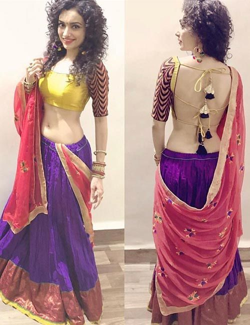 Backless saree blouse design