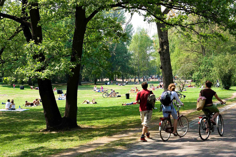 Girls walking naked in public park