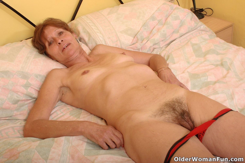 Saggy hairy granny in panties