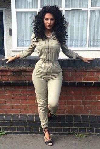Curly hair brunette ass