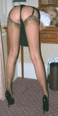 Skinny legs thigh high stocking heels naked