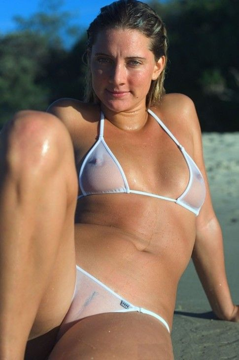 See through bikini beach girls