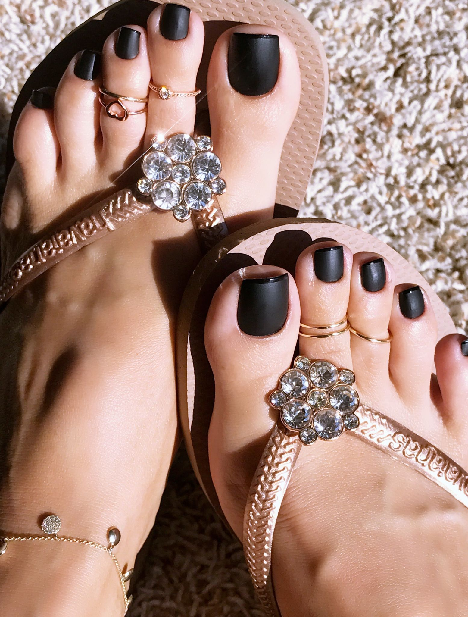 Black pedicure sexy long toes
