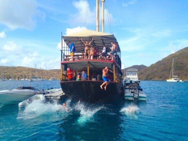 Naked on pontoon boat
