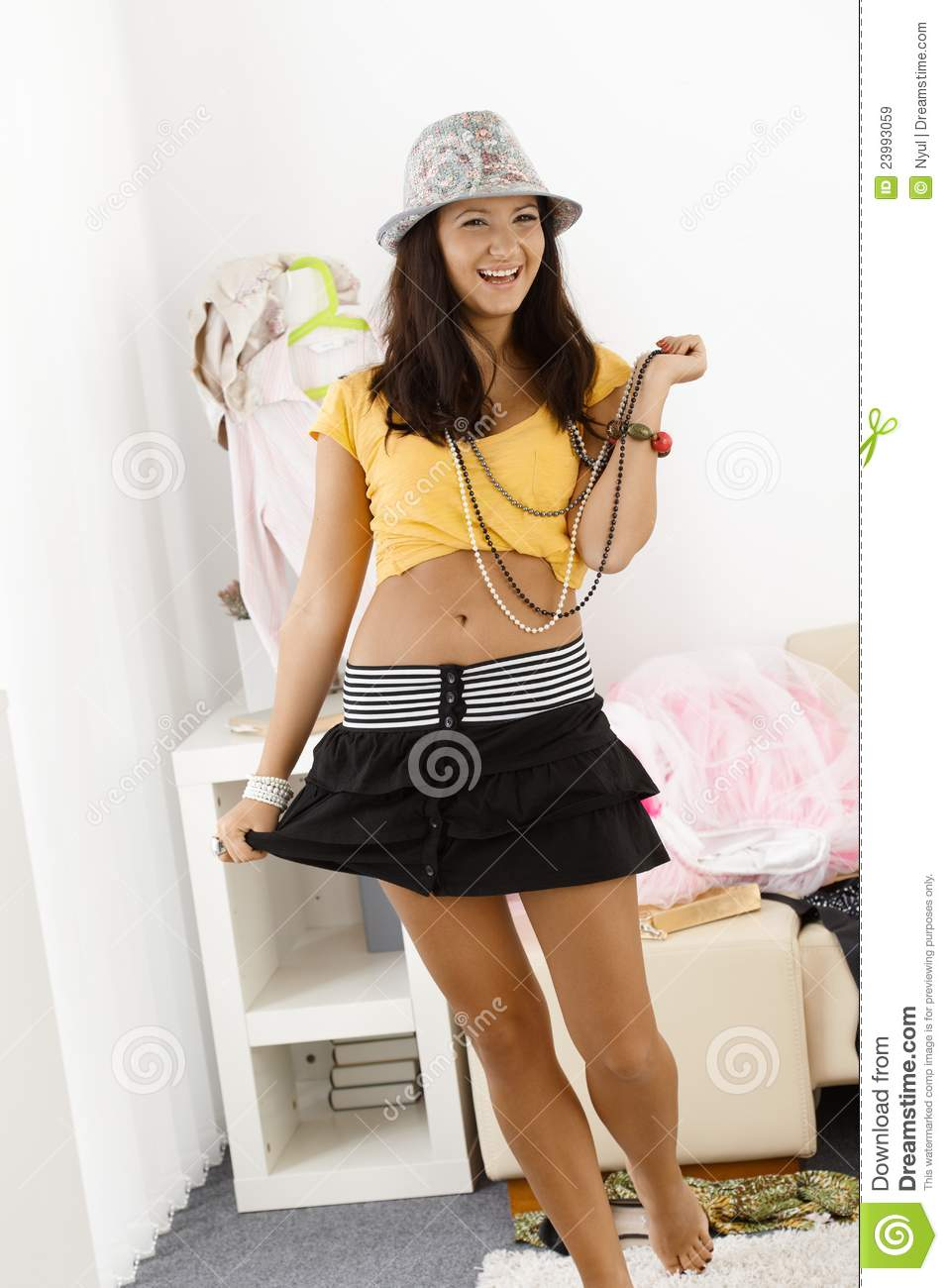 Teen girls in mini skirts