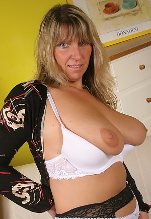 Mature see through blouse shelf bra