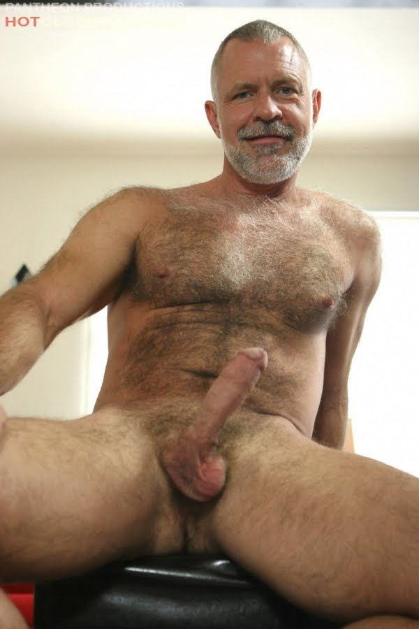 Hairy naked hard mature man