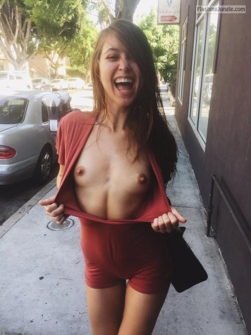 Coeds flashing in public