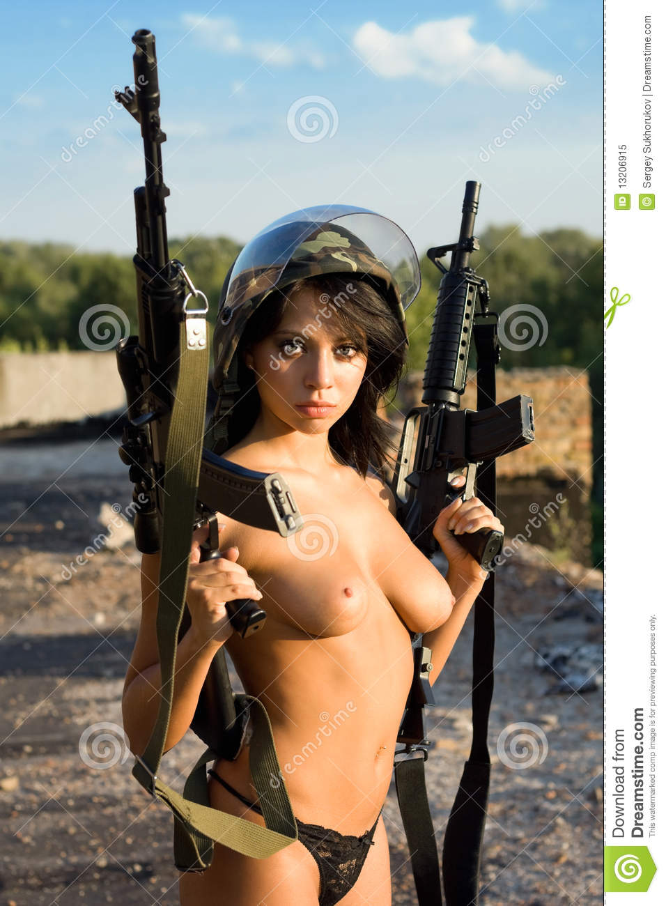 Nude women and guns
