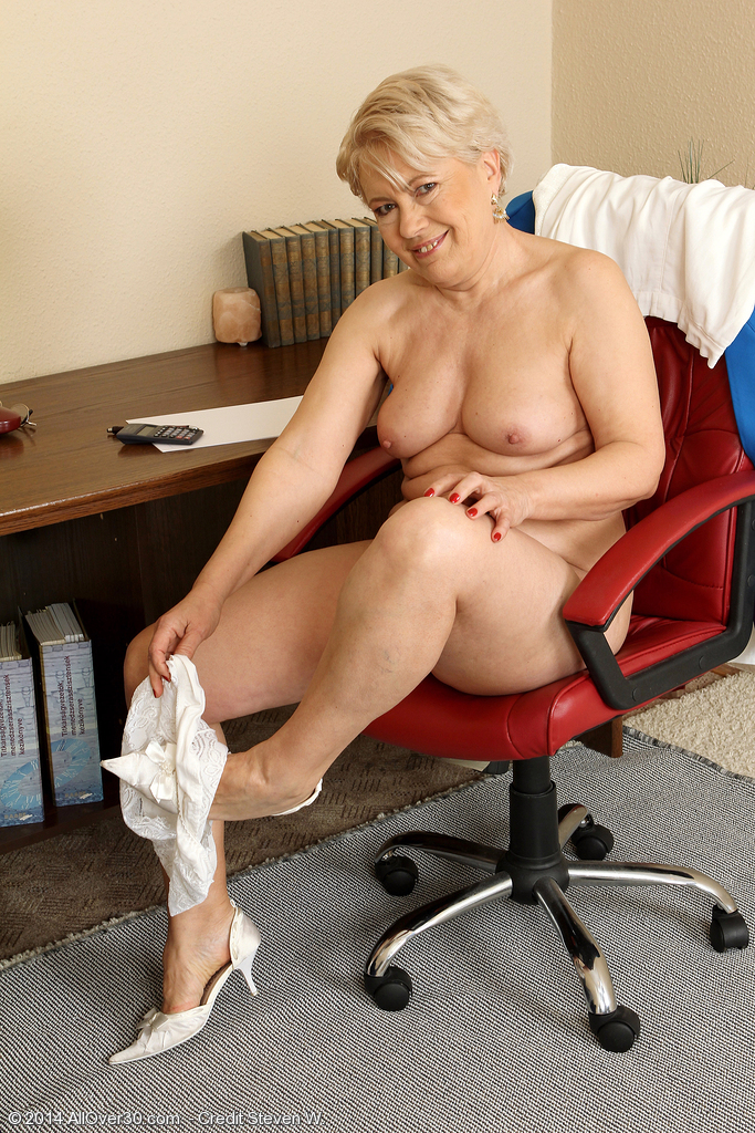 Spread legs mature secretary