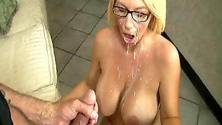 Big tit blonde milf with glasses
