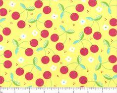 Fabric cherry yellow vintage retro
