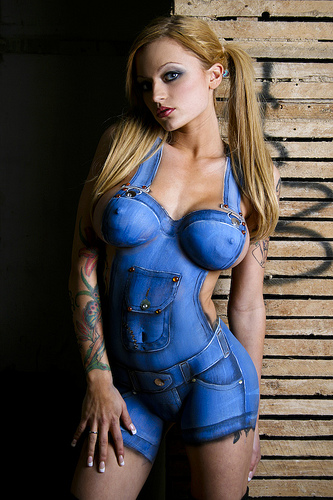 Girl sexy body paint
