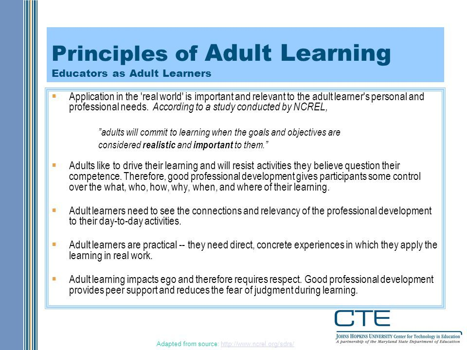 Professional development for of adults