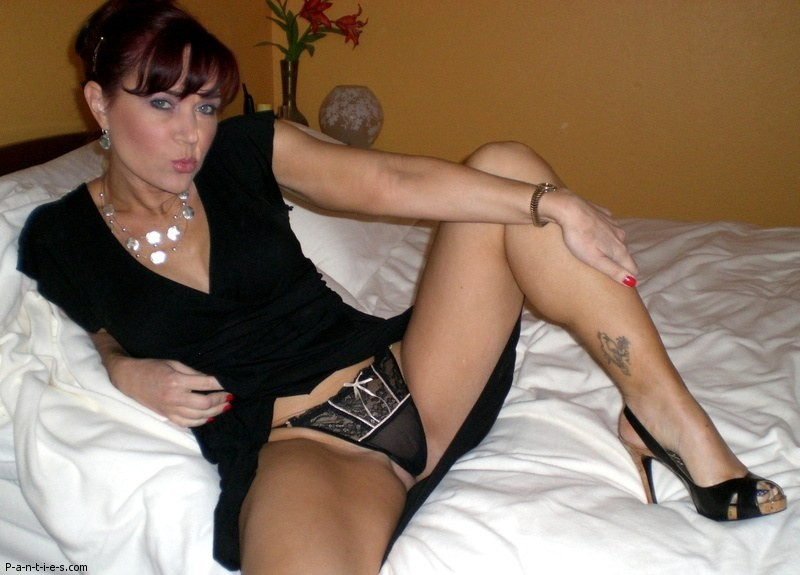 Milf legs spread panties see through
