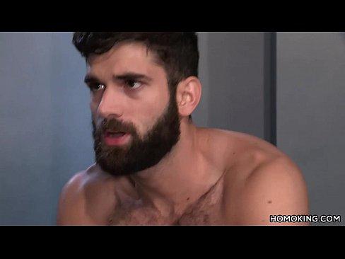 Hairy men sharing masturbation