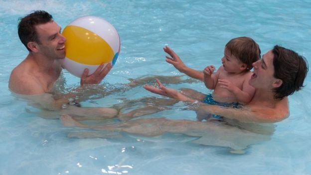Nudist families boys swimming