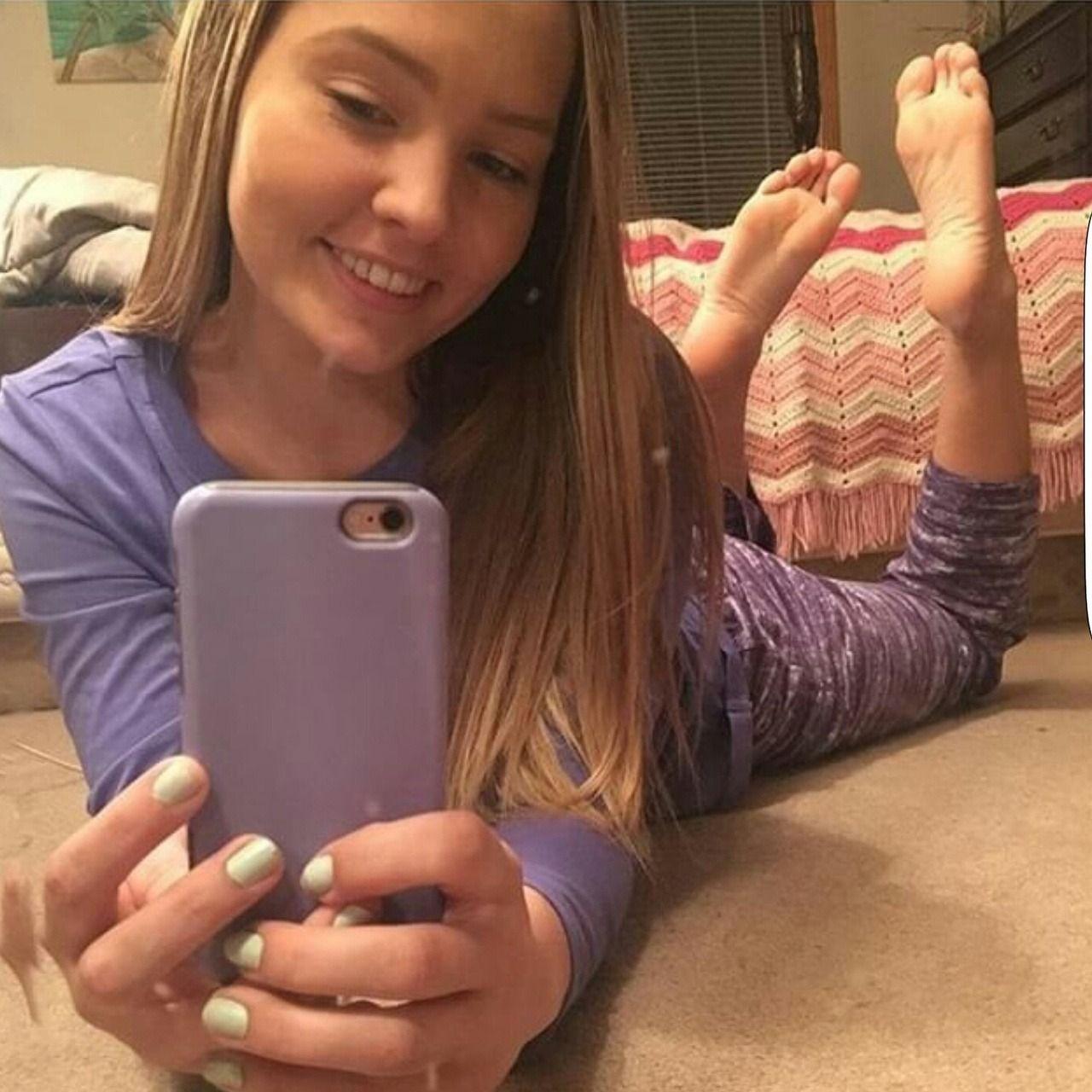 Sexy girl feet selfie