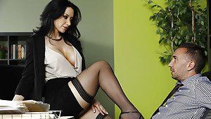 Skinny legs thigh high stocking heels naked
