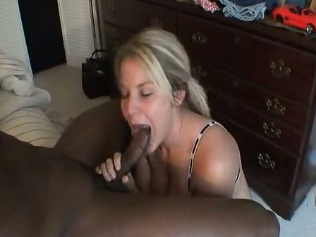 Sucking black cock from behind