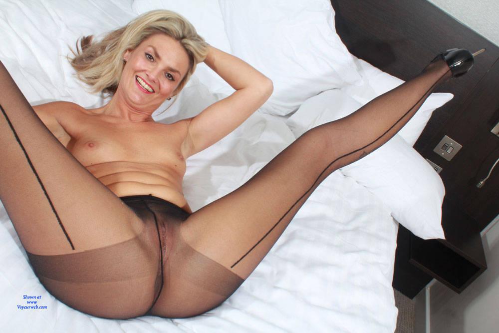 Girl blonde nude pantyhose